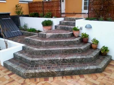 murerarbejde af trappeopgang i profil